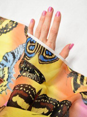 Трикотаж сетка бабочки на желто-оранжевом фоне (7006) - Фото 14