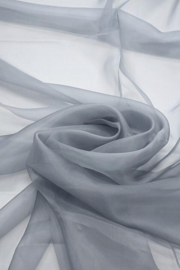 Органза шелковая серый оттенок (7071) - Фото 8