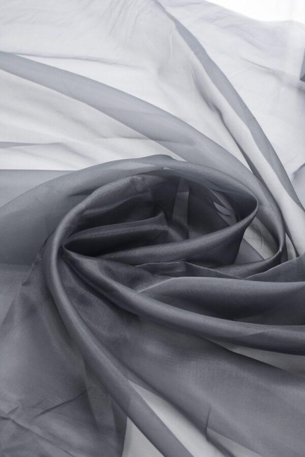 Органза шелковая темно-серая (7088) - Фото 7