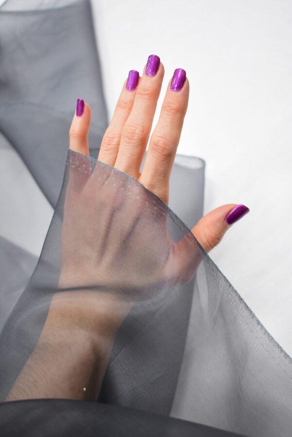 Органза шелковая темно-серая (7088) - Фото 9