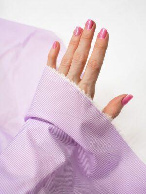 Хлопок рубашечный белый в розовую полоску (7148) - Фото 11
