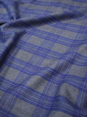 Костюмная шерсть серая в синюю клетку (7190) - Фото 13