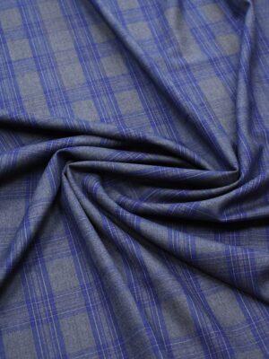 Костюмная шерсть серая в синюю клетку (7190) - Фото 14