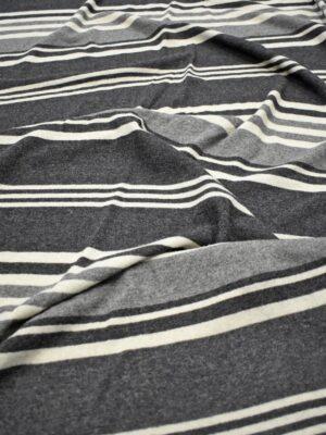 Трикотаж Джерси шерсть в серую и молочную полоску (7202) - Фото 15