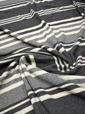 Трикотаж Джерси шерсть в серую и молочную полоску (7202) - Фото 16