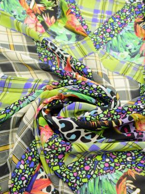 Креп шифон клетка цветы в разноцветных тонах (7222) - Фото 14