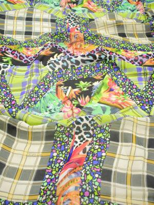 Креп шифон клетка цветы в разноцветных тонах (7222) - Фото 13