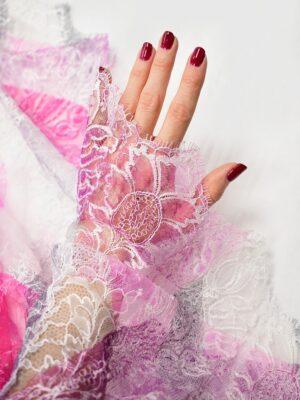 Гипюр белый с розовой абстракцией и цветами (7271) - Фото 15