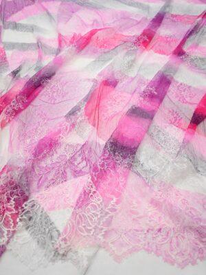 Гипюр белый с розовой абстракцией и цветами (7271) - Фото 14