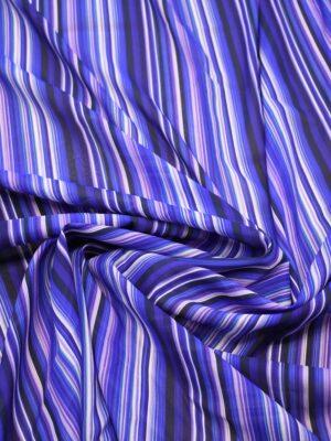 Шифон шелк стрейч в вертикальную синюю полоску (7283) - Фото 12