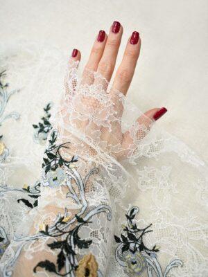 Гипюр стрейч с вышивкой цветы на белом фоне (7290) - Фото 11