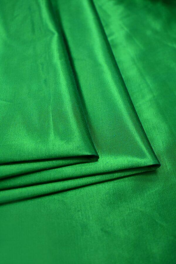 Сатин стрейч зеленый атласный (7322) - Фото 10