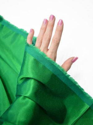 Сатин стрейч зеленый атласный (7322) - Фото 18