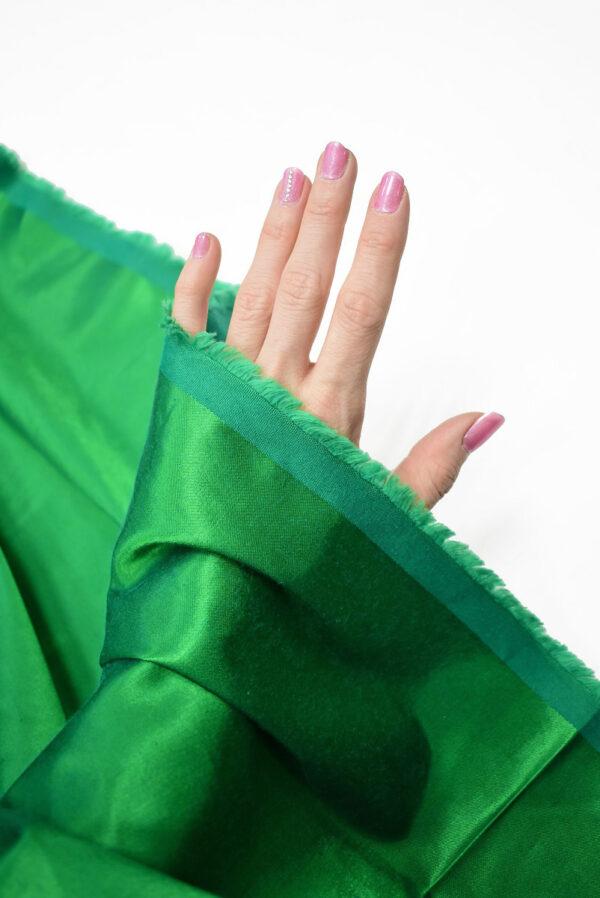 Сатин стрейч зеленый атласный (7322) - Фото 7