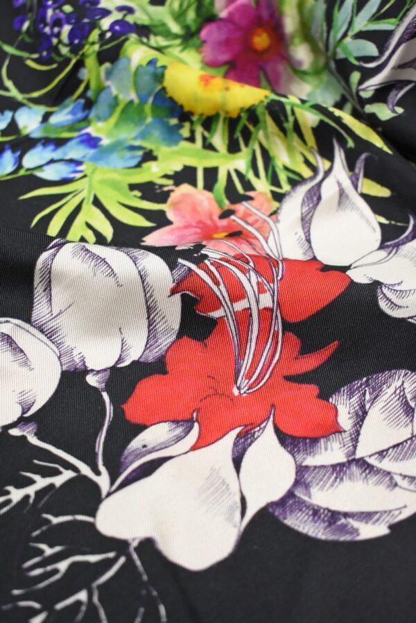 Твил черный с цветами (7387) - Фото 11