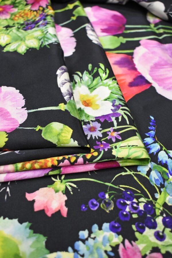 Твил черный с цветами (7387) - Фото 9