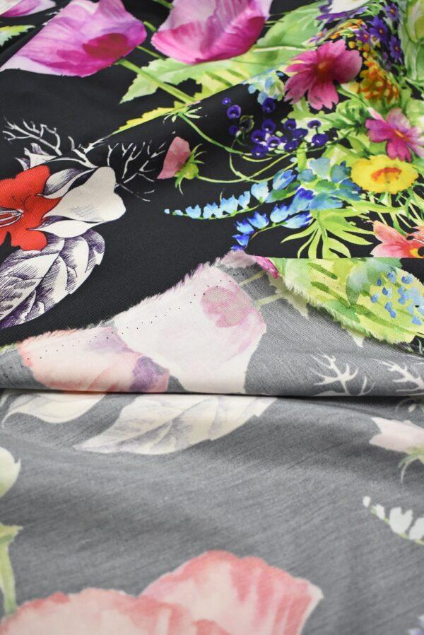 Твил черный с цветами (7387) - Фото 8