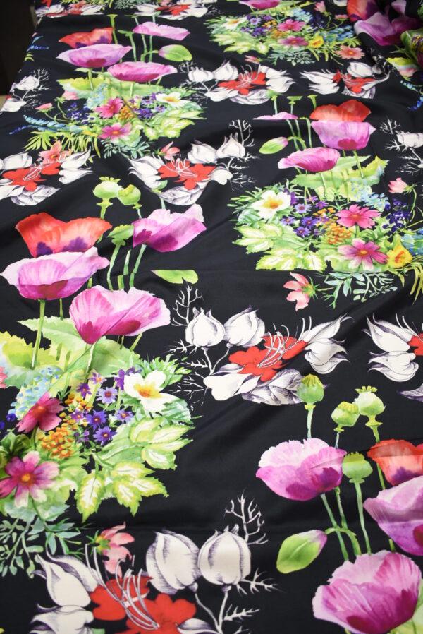 Твил черный с цветами (7387) - Фото 6