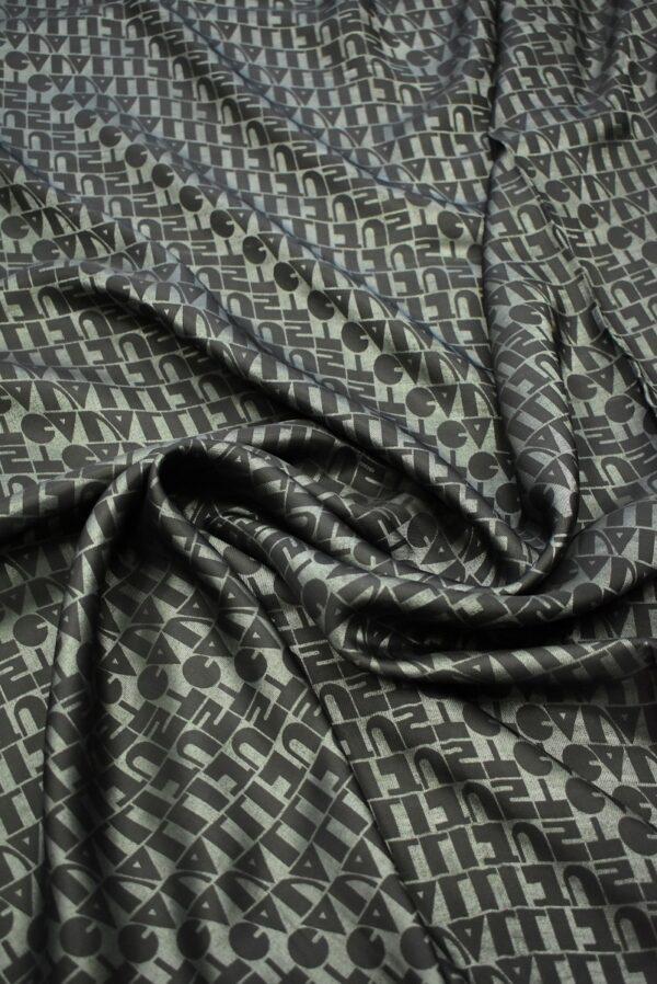 Подклад вискозный мятный надписями (7416) - Фото 9