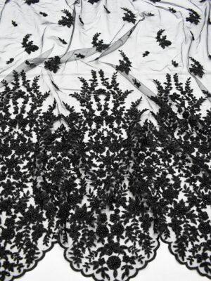 Кружево черное бисер пайетки с разными фестонами (7465) - Фото 15