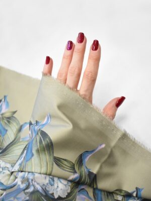 Сатин стрейч бежевый цветочная кайма (7560) - Фото 14