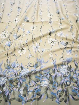 Сатин стрейч бежевый цветочная кайма (7560) - Фото 13