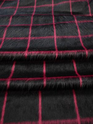 Джерси черный в клетку с длинным ворсом (7607) - Фото 16