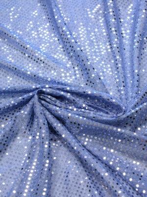 Трикотаж сетка голубой в серебристый горошек (7687) - Фото 20