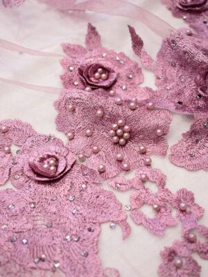 Кружево 3Д вышивка на сетке лиловый оттенок цветы бусины пайетки (7717) - Фото 12