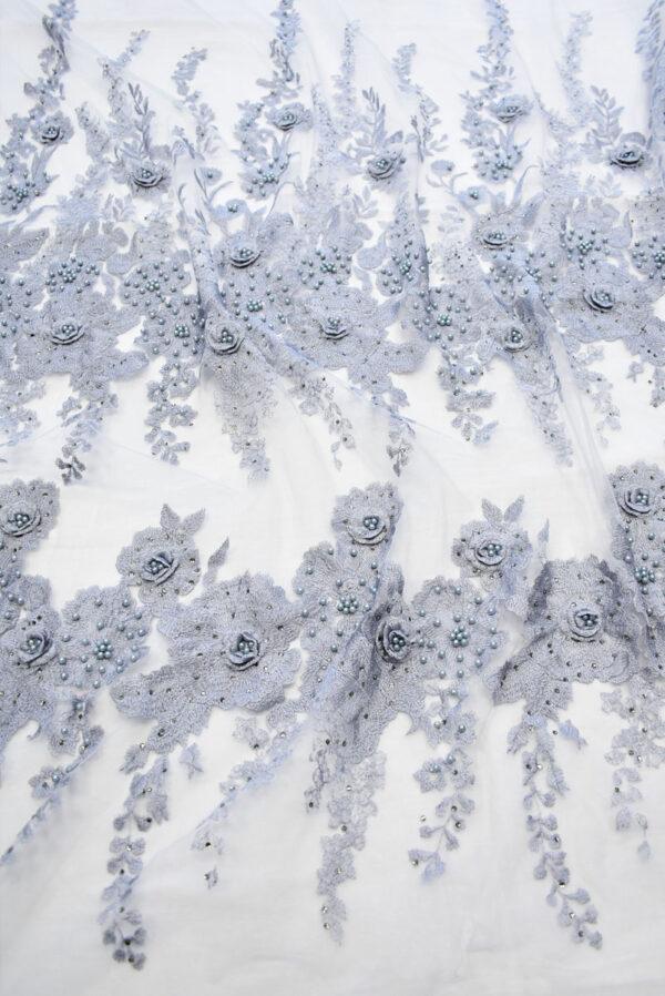 Кружево 3Д серое цветы бусины пайетки (7719) - Фото 6