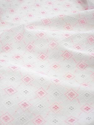 Шитье розовые ромбы на белом хлопке (7784) - Фото 13