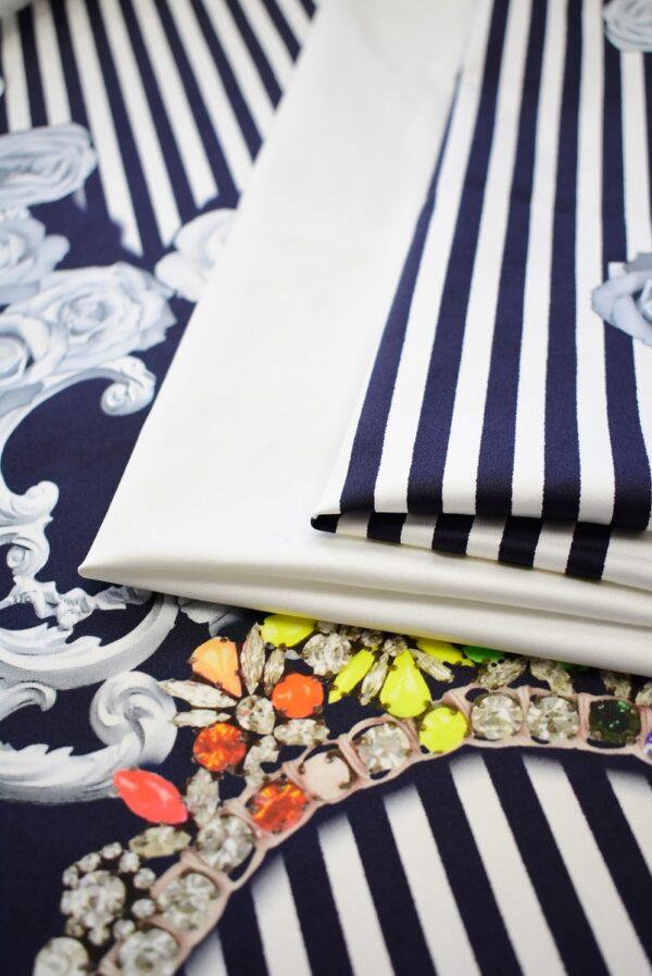 Хлопок стрейч купон белый в полоску с цветами (7801) - Фото 7