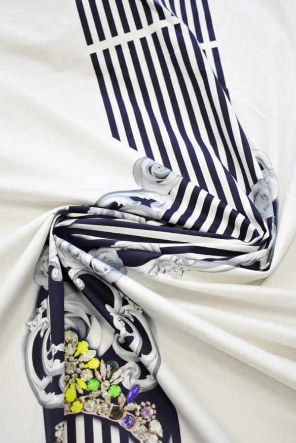 Хлопок стрейч купон белый в полоску с цветами (7801) - Фото 8