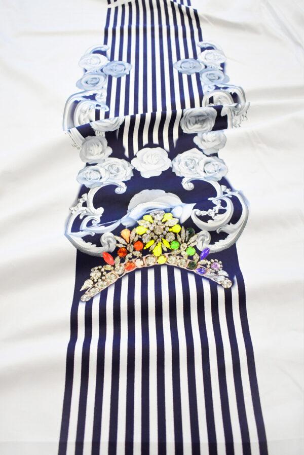 Хлопок стрейч купон белый в полоску с цветами (7801) - Фото 6
