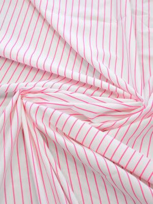 Хлопок рубашечный белый в розовую полоску (7803) - Фото 14