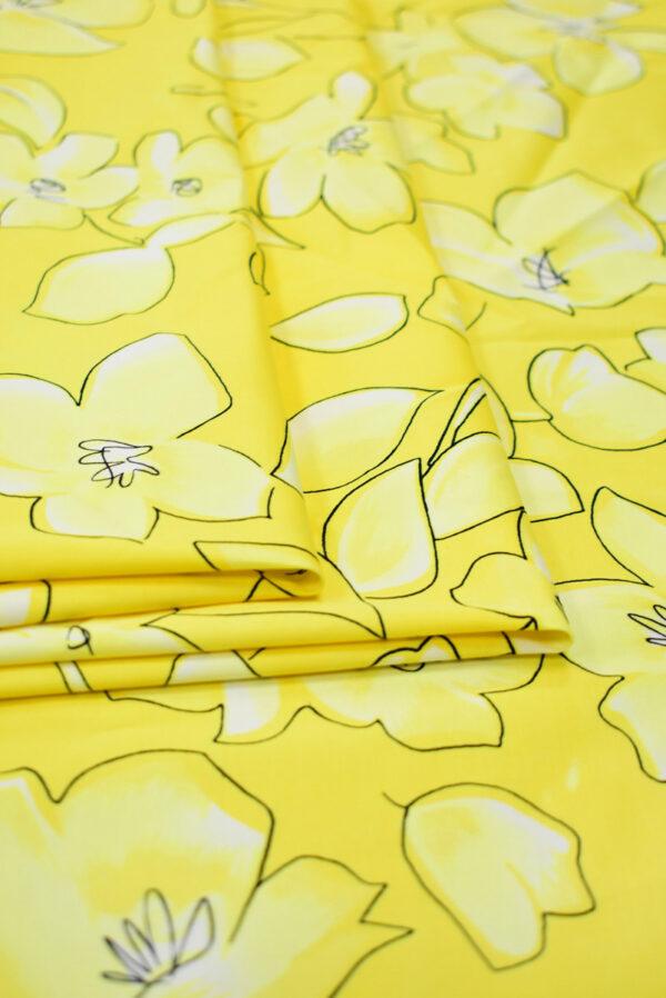 Сатин стрейч желтый с цветами (7884) - Фото 8