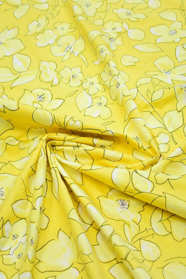Сатин стрейч желтый с цветами (7884) - Фото 9