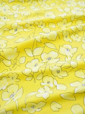Сатин стрейч желтый с цветами (7884) - Фото 15