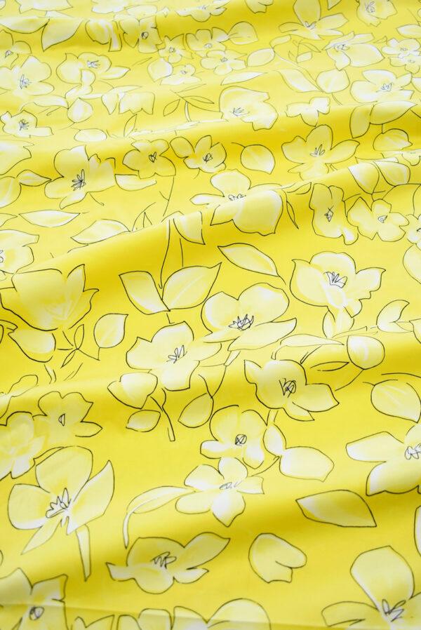 Сатин стрейч желтый с цветами (7884) - Фото 6