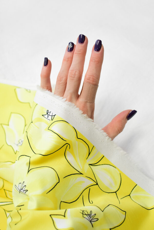 Сатин стрейч желтый с цветами (7884) - Фото 7