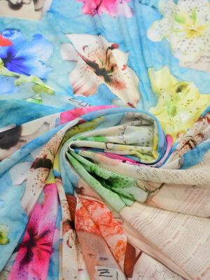 Креп шифон разноцветные лилии книги на голубом фоне (7912) - Фото 13
