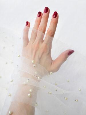 Сетка молочно-белая с жемчугом (7921) - Фото 18