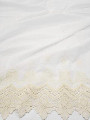 Хлопок с вышивкой бежевая кайма на белом фоне (7922) - Фото 13