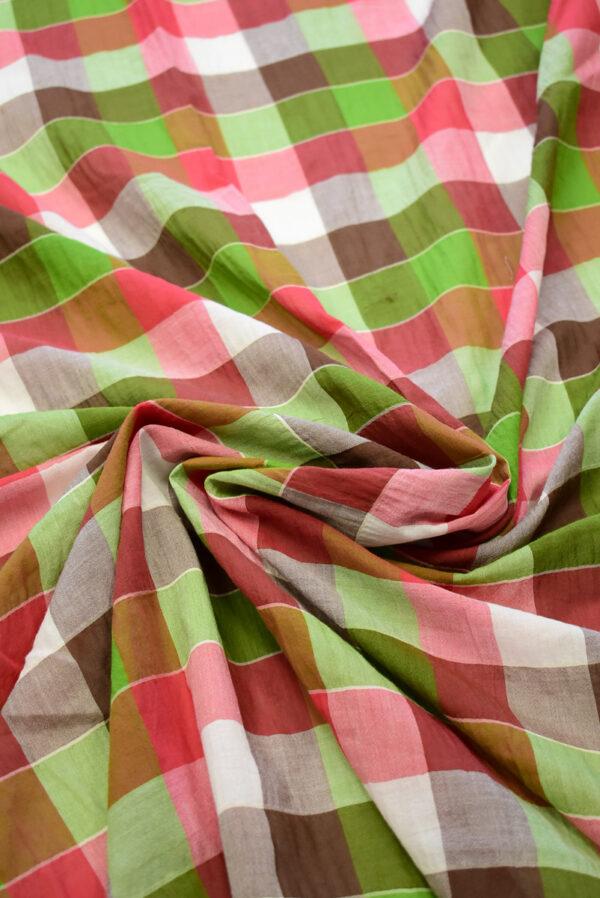 Хлопок марлевка в красную и зеленую клетку (7923) - Фото 8