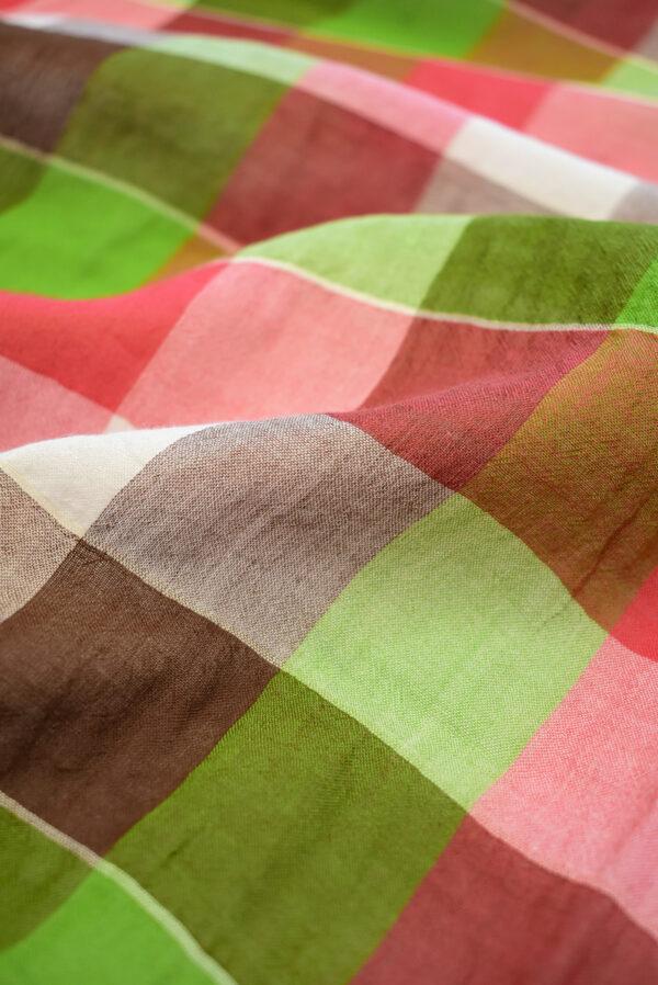 Хлопок марлевка в красную и зеленую клетку (7923) - Фото 10