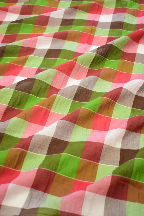Хлопок марлевка в красную и зеленую клетку (7923) - Фото 6