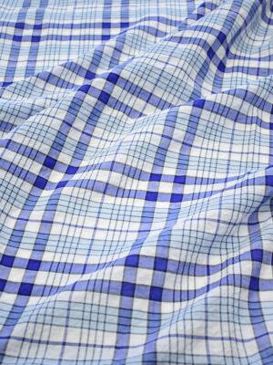 Хлопок марлевка белый с синюю и голубую клетку (7925) - Фото 13