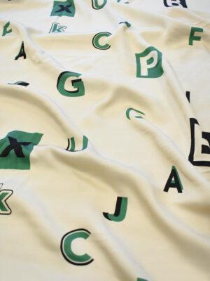 Штапель бежевый с буквами (7979) - Фото 17