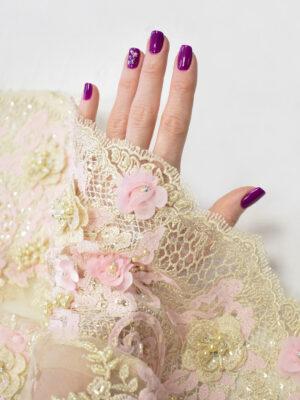 Кружево розовые 3Д цветы на бежевом фоне (8053) - Фото 13
