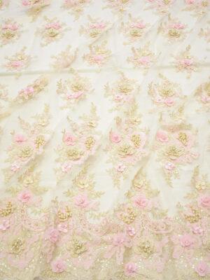 Кружево розовые 3Д цветы на бежевом фоне (8053) - Фото 12